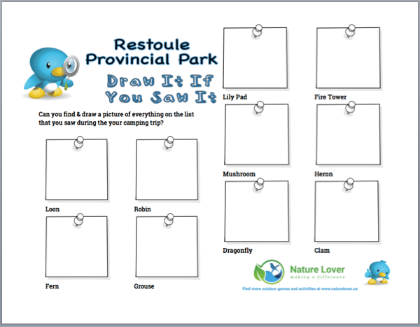 """Draw-It-Preview Restoule Provincial Park """"Draw It If You Saw It"""" Activity Sheet"""